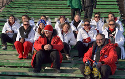 Irkutsk, Russia - Feb, 25 2012: The team of bandy players from Canada at the spectator stands of the stadium Stock Image