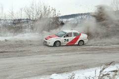 Irkutsk, Russia -  February 18, 2017 ; Track `Bokovo`, 1st stage the Cup of Russia in autocross. Stock Photography