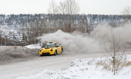 Irkutsk, Russia -  February 18, 2017 ; Track `Bokovo`, 1st stage the Cup of Russia in autocross. Stock Photos