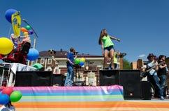 Irkutsk, Russia - giugno, 01 del 2013: Parata di giorno della città sulle vie di Irkutsk Fotografia Stock