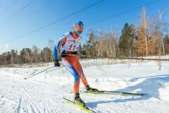 Irkutsk, Russia - January 28, 2017: Racing competition for dog s. Ledding and skijoring Angara beads 2017 Stock Photos