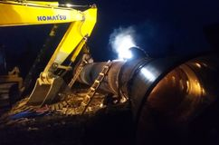 Construction of a gas pipeline The power of Siberia. Welding works. stock photography