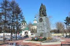 Irkutsk, Russia, March, 09, 2017. The monument to Alexander Vasilyevich Kolchak near Znamensky monastery in Irkutsk in early sprin. Irkutsk, Russia,  monument to Royalty Free Stock Photo