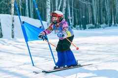 Irkutsk, Russland - 12. Februar 2017: Slalomwettbewerb snowboar Lizenzfreie Stockfotografie