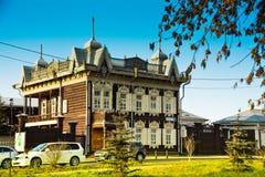 irkutsk Stary drewniany dom w centre miasto Zdjęcia Royalty Free