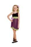 Irländsk dansare Girl i Ghillies och lockig peruk Arkivfoto