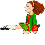 Irländsk dansflicka i traditionell klänning Fotografering för Bildbyråer