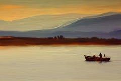 Irländsk fiskare Oil Painting på kanfas Arkivbild