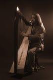 Irländsk harpaspelare Musikerharpist Royaltyfria Bilder