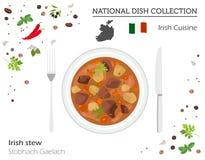 Irländsk kokkonst Europeisk nationell maträttsamling Den irländska ragu är stock illustrationer