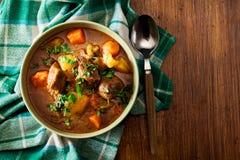 Irländsk ragu som göras med nötkött, potatisar, morötter och örter arkivfoton