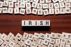 Irländskt ordbegrepp på kuber royaltyfri bild