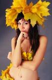 IRL com uma grinalda das folhas de outono Fotografia de Stock