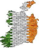 Irland översikt på en tegelstenvägg Arkivbild