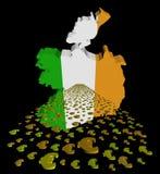 Irland översiktsflagga med euroförgrundsillustrationen royaltyfri illustrationer