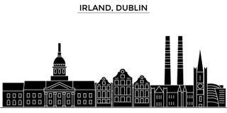 Irland, Dublin architektury miasta wektorowa linia horyzontu, podróż pejzaż miejski z punktami zwrotnymi, budynki, odosobneni wid ilustracji