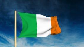 Irland-Flaggenschieberart Wellenartig bewegen in den Wind mit stock video