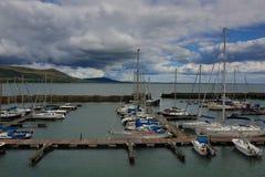 Irland landskap, marina, port, hamn, fartyg, fartyg, sjömanfartyg, yacht Arkivbild