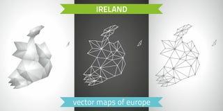 Irland-Satz Grau und polygonale Karten des Silbermosaiks 3d Lizenzfreie Stockfotos