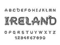 Irland stilsort Nationellt keltiskt alfabet Traditionell irländsk orname Arkivbilder