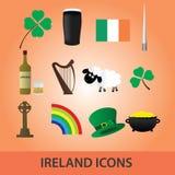 Irland symboler fastställd eps10 royaltyfri illustrationer