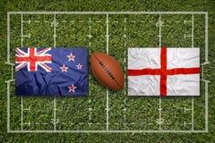 Irland vs ScotlandNew Själland vs England flaggor på rugbyfie Arkivbild