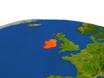 Irlanda en rojo de la órbita stock de ilustración