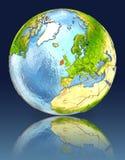 Irlanda no globo com reflexão ilustração do vetor