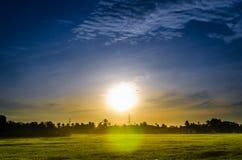 Irlandczyka pole na wschodu słońca tle obraz stock