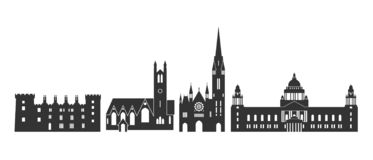Irlandia logo Odosobniona Irlandzka architektura na bia?ym tle ilustracja wektor