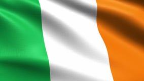 Irlandia loopingu flaga 4K z falowanie tkaniny teksturą, royalty ilustracja