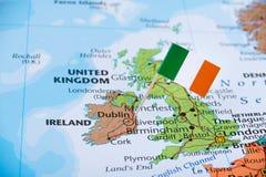 Irlandia mapa, podróż, emigracyjny pojęcie wizerunek zdjęcie stock