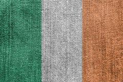 Irlandia przemysł włókienniczy Lub polityki pojęcie: Irlandczyków Chorągwiani Drelichowi cajgi zdjęcia stock