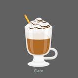 Irlandzki Szklany kubek z Kawowym Glace Płaskim wektorem ilustracji