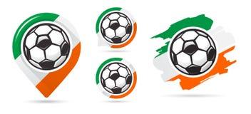 Irlandzkie futbolowe wektorowe ikony Piłka nożna Cel Set futbolowe ikony Zdjęcie Stock