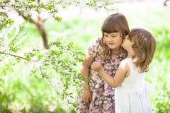 Irmã das meninas com flores, proposta e amor da mola Imagens de Stock Royalty Free