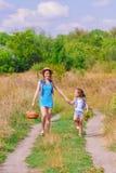 Irmã das meninas em um campo com flores Foto de Stock Royalty Free