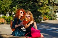 Irmã dos estudantes fêmeas que lê um livro no parque Fotos de Stock Royalty Free
