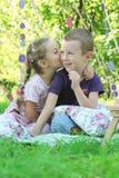 Irmã e irmão que compartilham de segredos Imagens de Stock Royalty Free
