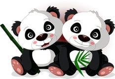 Irmão bonito da panda dos desenhos animados Fotos de Stock Royalty Free
