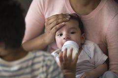 Irmão de alimentação do bebê Fotografia de Stock