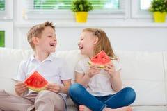 Irmão e irmã de riso felizes Foto de Stock Royalty Free