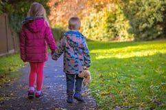 Irmão e irmã em uma caminhada imagens de stock royalty free