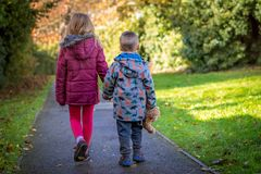 Irmão e irmã em uma caminhada fotos de stock royalty free