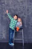 Irmão e irmã felizes Fotos de Stock Royalty Free