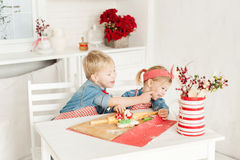 Irmão e irmã que têm o divertimento na cozinha Fotos de Stock