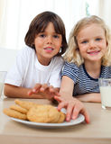 Irmãos bonitos que comem biscoitos Fotos de Stock Royalty Free