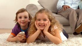 Irmãos bonitos que sorriem na câmera vídeos de arquivo