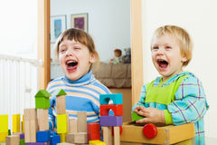 Irmãos emocionais que jogam com brinquedos de madeira Imagem de Stock