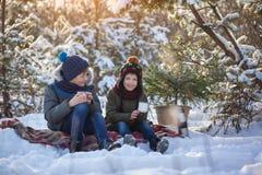 Irmãos felizes da família dois em uma caminhada do inverno que bebem fora o chocolate fotografia de stock